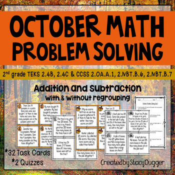 October Problem Solving with Addition and Subtraction Task Cards