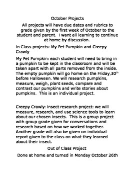 October Project assignements for enrichment