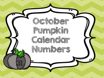 October Pumpkin Calendar Numbers