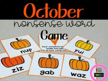 October Pumpkin Pie Nonsense Word Fluency Game