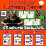 October QR Code  Listening Center with Comprehension Sheets