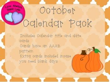 October Quatrefoil Calendar Set