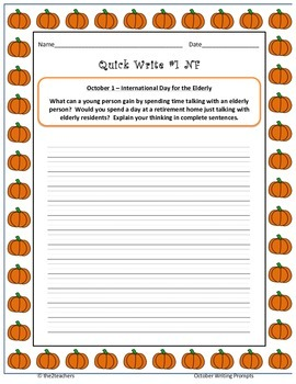 Writers Workshop:  Quick Writes - October Prompts - 62 writing prompts