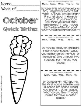 October Quick Writes Writing Prompts for Upper Elementary