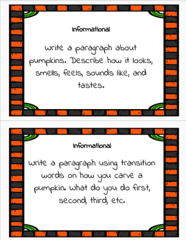 October Quick Writing Prompts Common Core