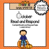 October Read and Respond: Emergent Readers and Comprehension Response Pages