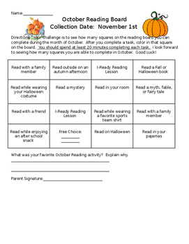 October Reading Incentive Board