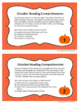 Halloween Reading Comprehension Task Cards