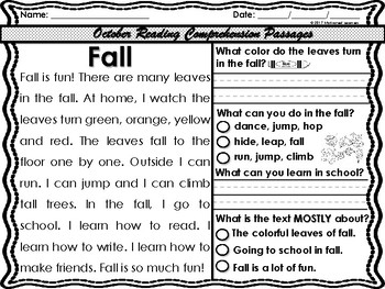 October Reading Comprehension Text Evidence