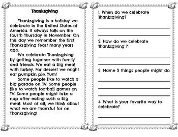 November Reading Comprehension Passages/Questions BUNDLE- Thanksgiving - Turkeys