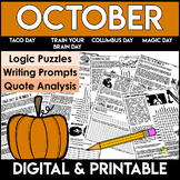 October Reading Comprehension Passages and Questions | Logic Puzzles