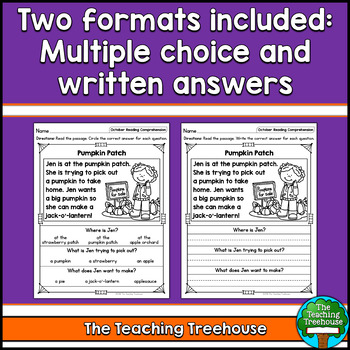 October Reading Comprehension Passages for Kindergarten and First Grade