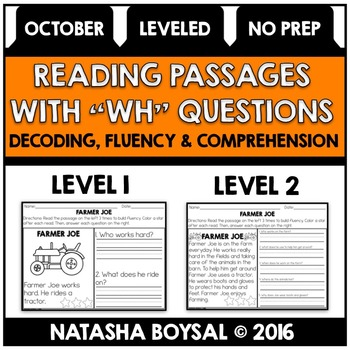 """October Reading Comprehension Passages with """"WH"""" Questions"""