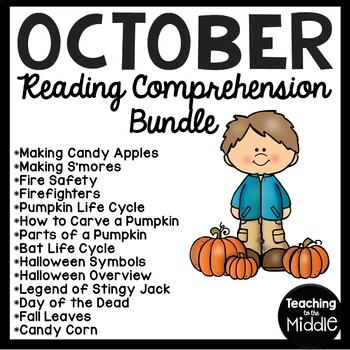 October Reading Comprehension Worksheet Bundle for Mid to Upper Elementary