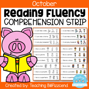 October Reading Fluency and Comprehension Sentence Strip