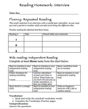 October Reading Homework and Test Preparation