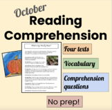 October Reading Homework and Test Preparation