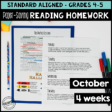October Reading Homework for 4th & 5th PAPER-SAVING color
