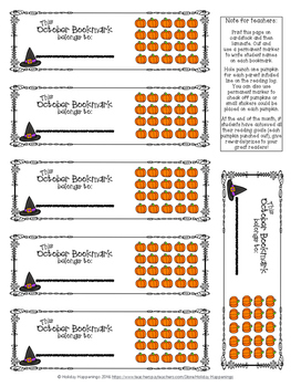 October Reading Incentive Bookmark: Reward Daily Reading in Any Grade Level