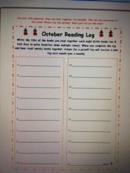 October Reading Log Elementary Kindergarten First Second Third