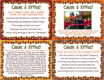 November Reading Skills and Enrichment Task Cards *Aligned to Common Core*