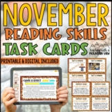 November Reading Skills and Enrichment Task Cards
