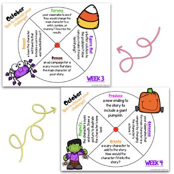 October Reading Spinner Choice Boards