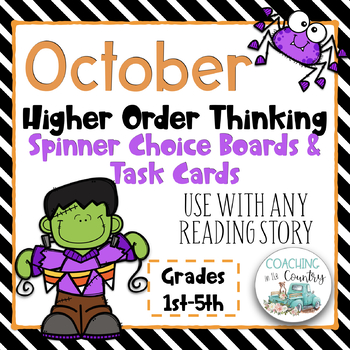 October Reading Spinner Choice Boards & Task Cards Bundle