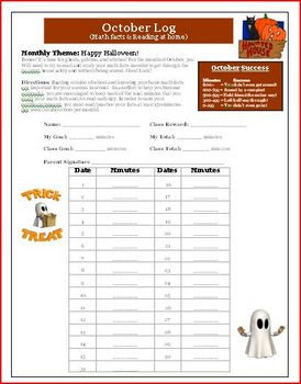 October Reading and Math Log Haunted House Theme