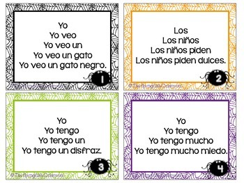 October Repeated Reading Task Cards en Español