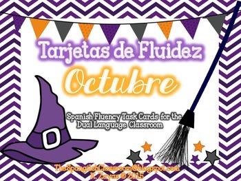 October Repeated Reading Task Cards en Español