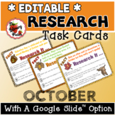 Research Task Cards for October