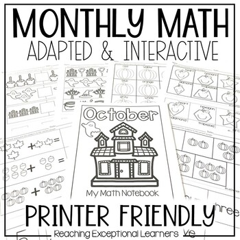 October SPED Math Adapted Workbook