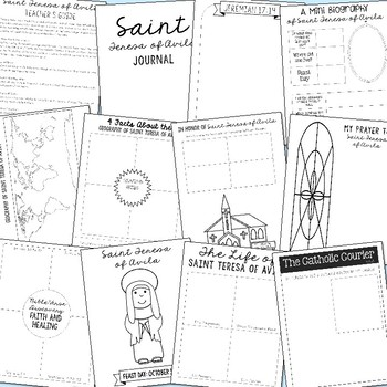October Saints BUNDLE of Notebook Journal Projects, Catholic Resources