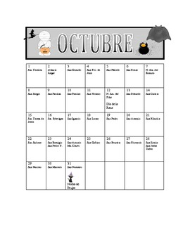 October Saints' Day Calendar