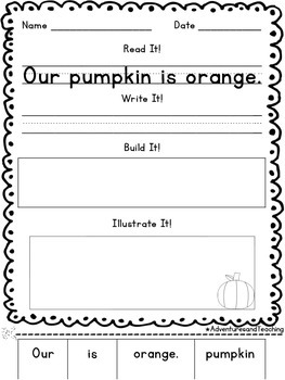October Sentence Builders {morning work, word work, daily 5, & centers}