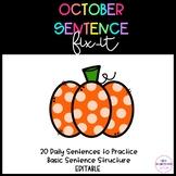 October Sentence Fix-It EDITABLE