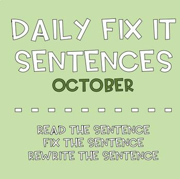 October Sentence Fix-Its