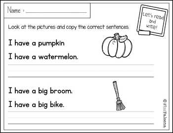 October Sentence Writing