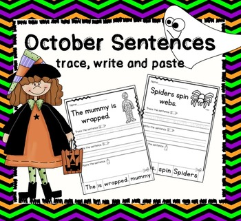 October Sentences- Trace, Write and Paste