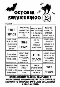 October Service Bingo