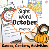 First Grade Sight Word Activities- October