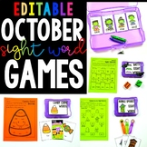 October Sight Word Games - Editable
