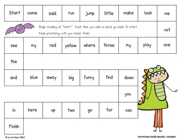 October Sight Word Pack (Differentiated for K-2)
