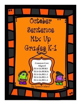 October Sight Word Sentence Mix Up (No Prep/Low Prep)