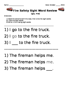 October Sight Word Sentence Review - Fire Safety