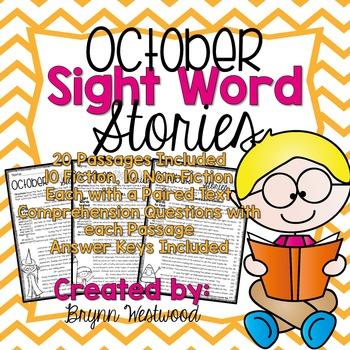 October Sight Word Stories