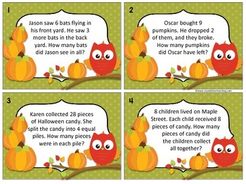 October Sort and Solve Story Problems