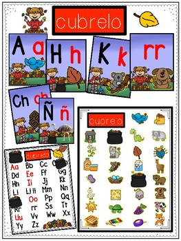 October Spanish Alphabet Cards
