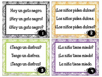October Spanish Fluency Task Cards